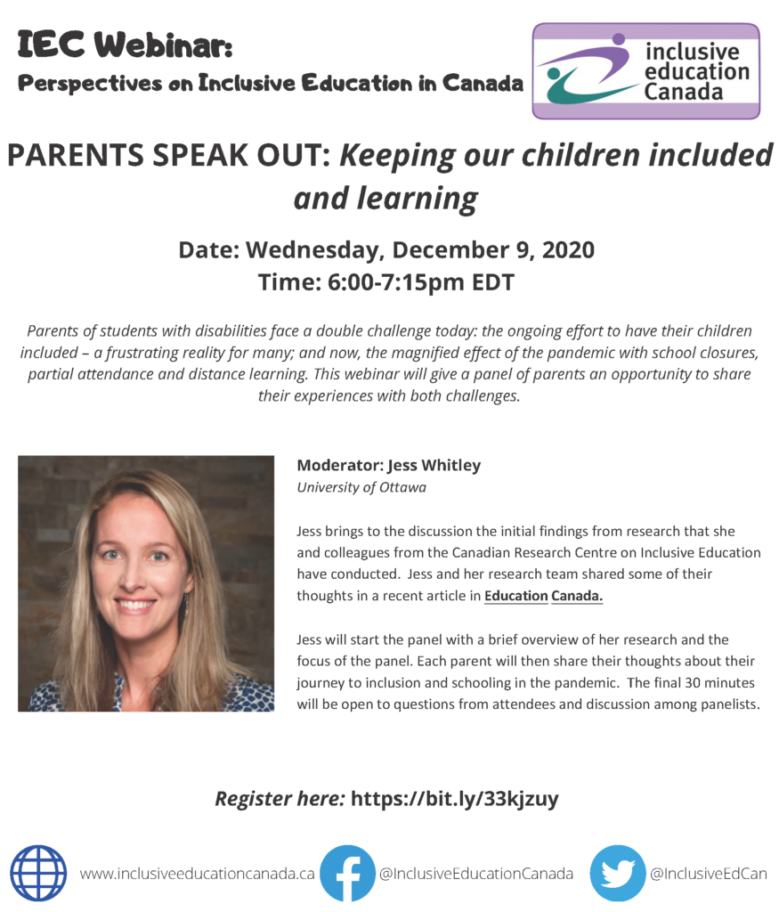 """Text-based poster advertising a December 2020 webinar called """"Parents Speak Out: Keeping our children included and learning"""""""